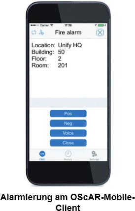 Alarmierung am OScAR-MobileClient