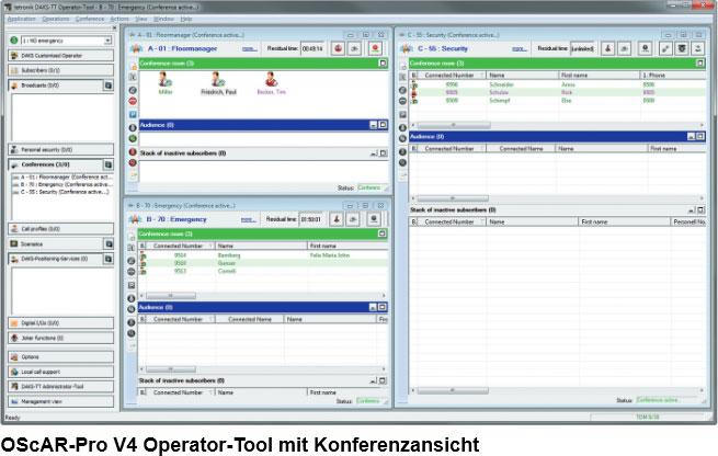OScAR-Pro V4 Operator-Tool mit Konferenzansicht