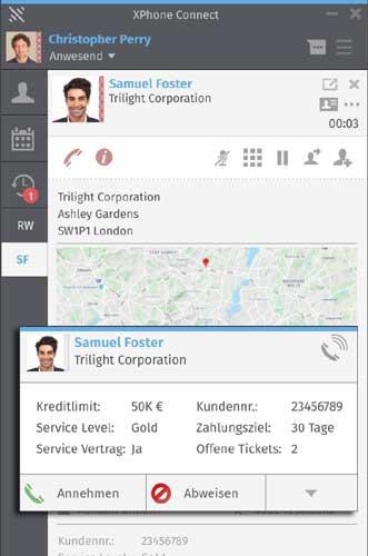 Frei definierbare Dashboards für Client und Anrufer - Popup